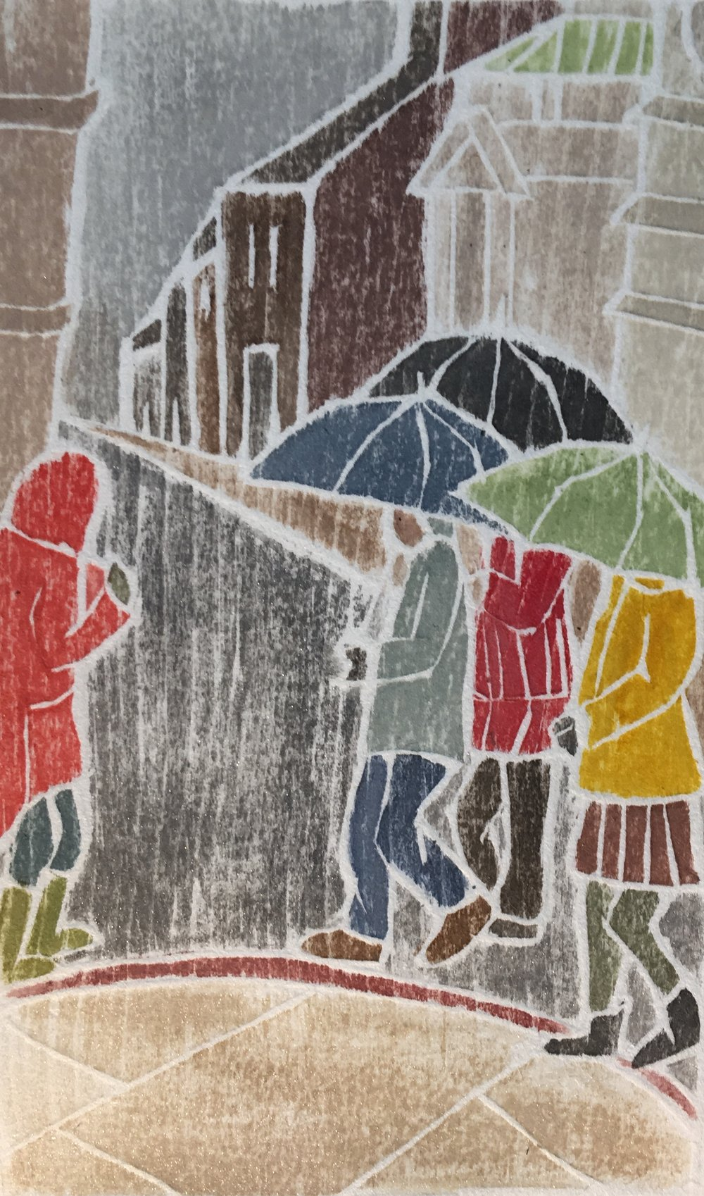 "Sometimes it rains… , white line woodcut monoprint, 10"" x 8"", $100"