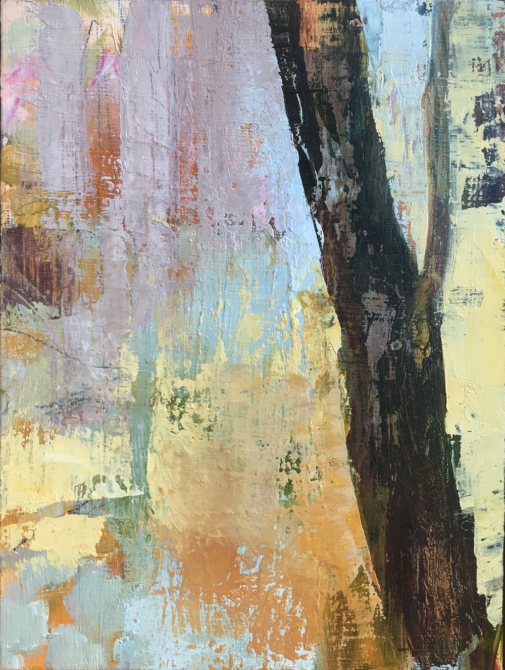 """Beech Forest , oil on board, 9 1/2"""" x 7"""" framed, $425"""