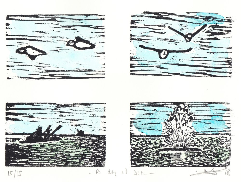 "A Day at Sea  (8/15), woodcut and watercolor, 8"" x 10"" sheet size, $100"