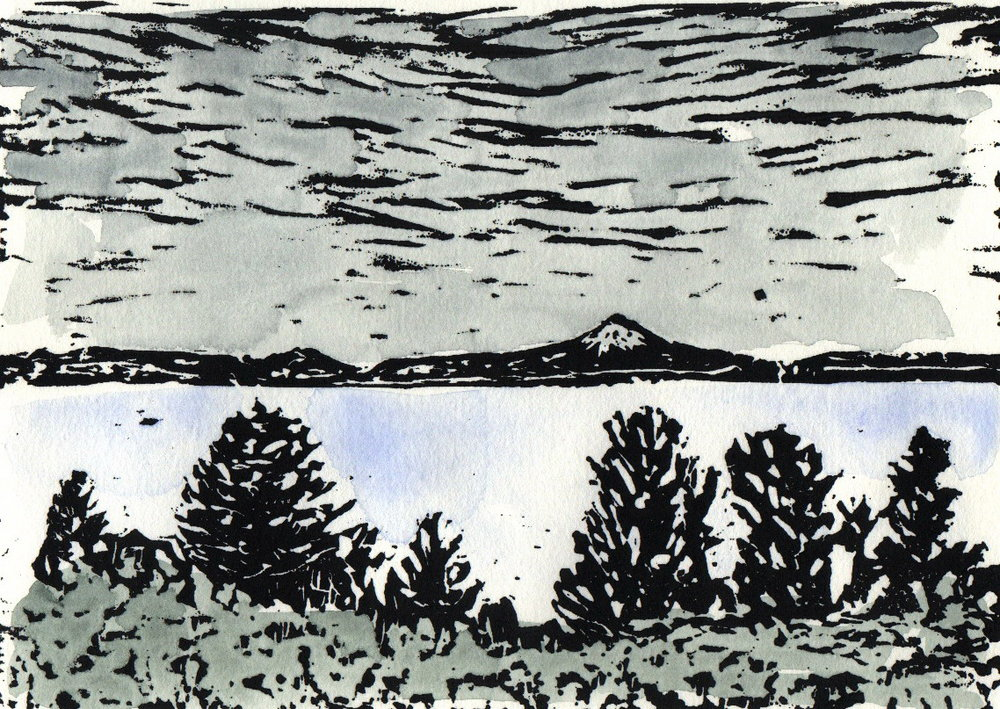 "Far Away Lake  (EE 1/2), linocut and watercolor, 8 1/2"" x 10 1/2"" sheet size, $90"
