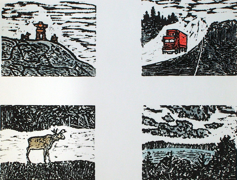 "Grand Nord  (EE), linocut and watercolor, 11 1/4"" x 15"" sheet size, $150"