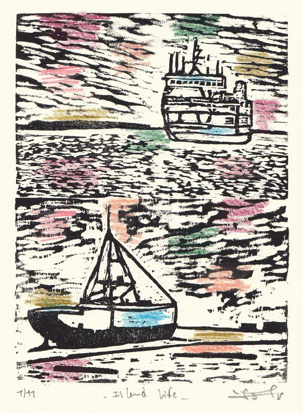 "Island Life  (1/11), woodcut and colored pencil, 13 1/4"" x 10 1/4"" framed, $200"
