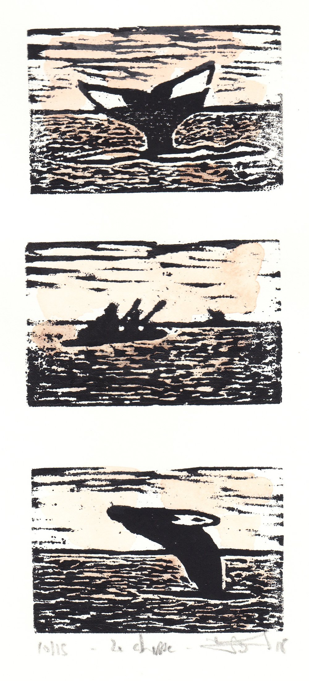 "La Chasse  (11/15), woodcut and watercolor, 10 1/4"" x 5 1/2"" sheet size, $80"