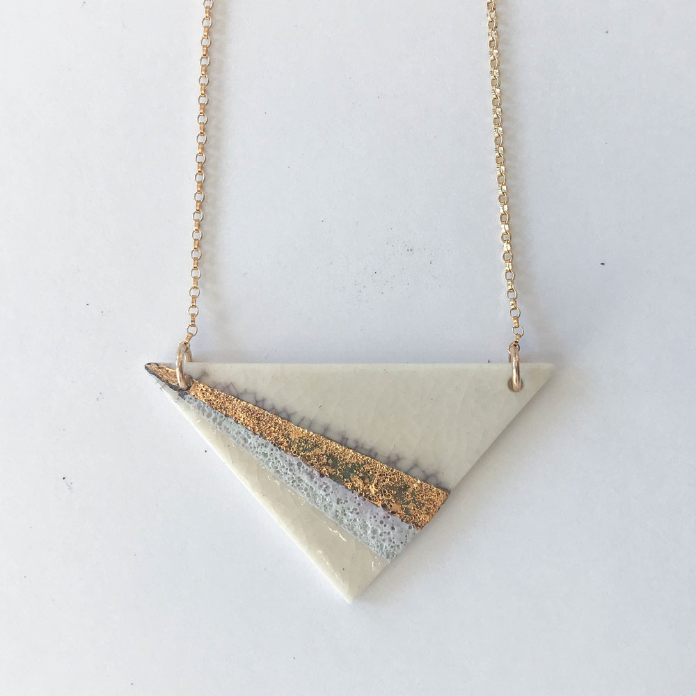 White wide triangle necklace, porcelain with mottled blue and gold luster design, 14K gold filled chain, $85