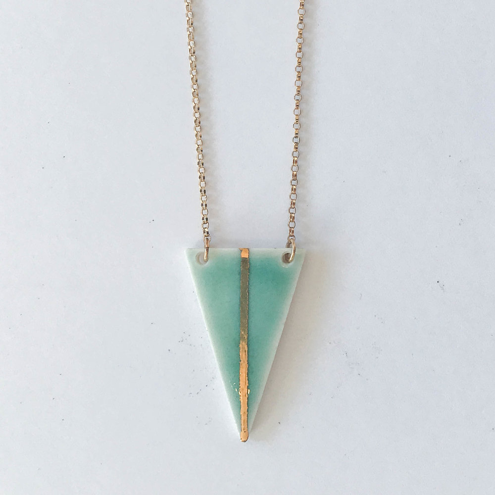 Celadon narrow triangle necklace, porcelain with celadon glaze and gold luster, 14K gold filled chain, $60