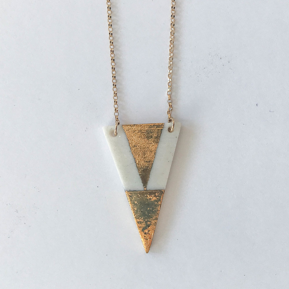 White narrow triangle necklace, porcelain with gold luster, 14K gold filled chain, $60