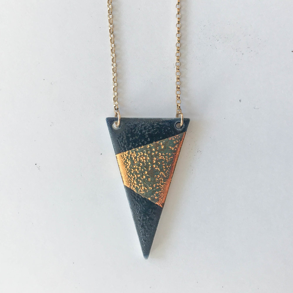 Midnight blue narrow triangle necklace, porcelain with midnight blue glaze and gold luster, 14K gold filled chain, $60