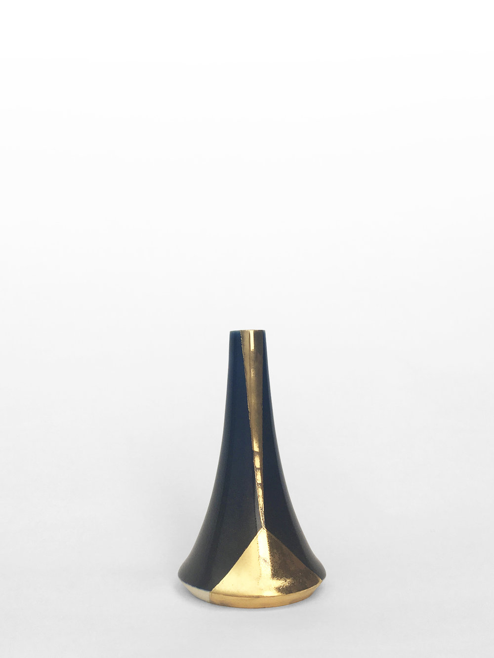 "Small volcano vase, hand-thrown porcelain with midnight blue glaze and gold luster geometric design, 4 1/4"" x 2 1/2"", $150"