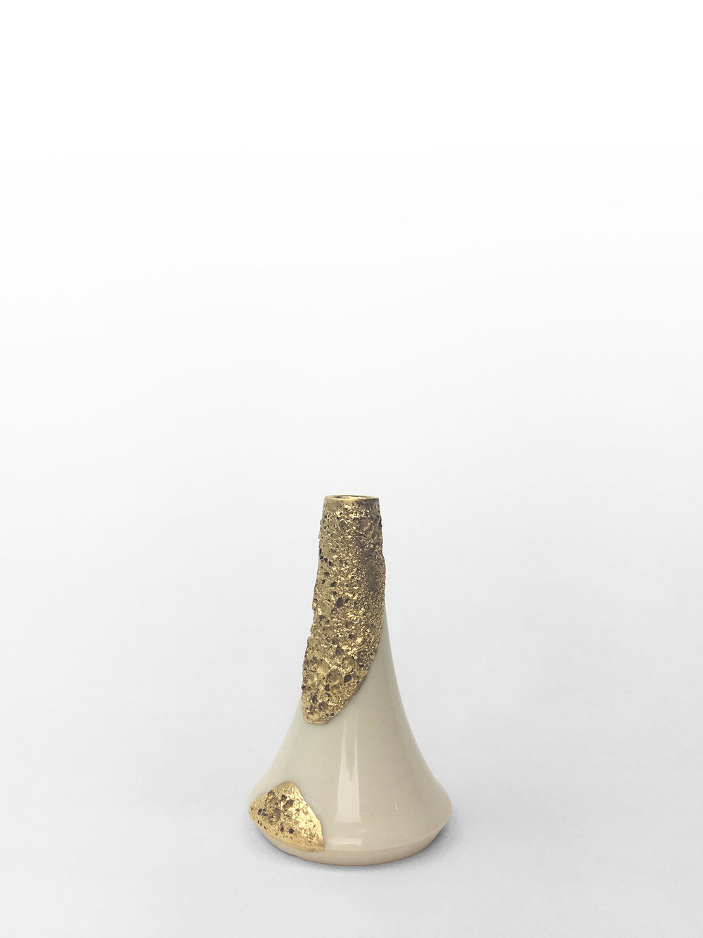 "Small volcano vase, hand-thrown porcelain with gold luster froth, 4"" x 2 1/2"", $140"