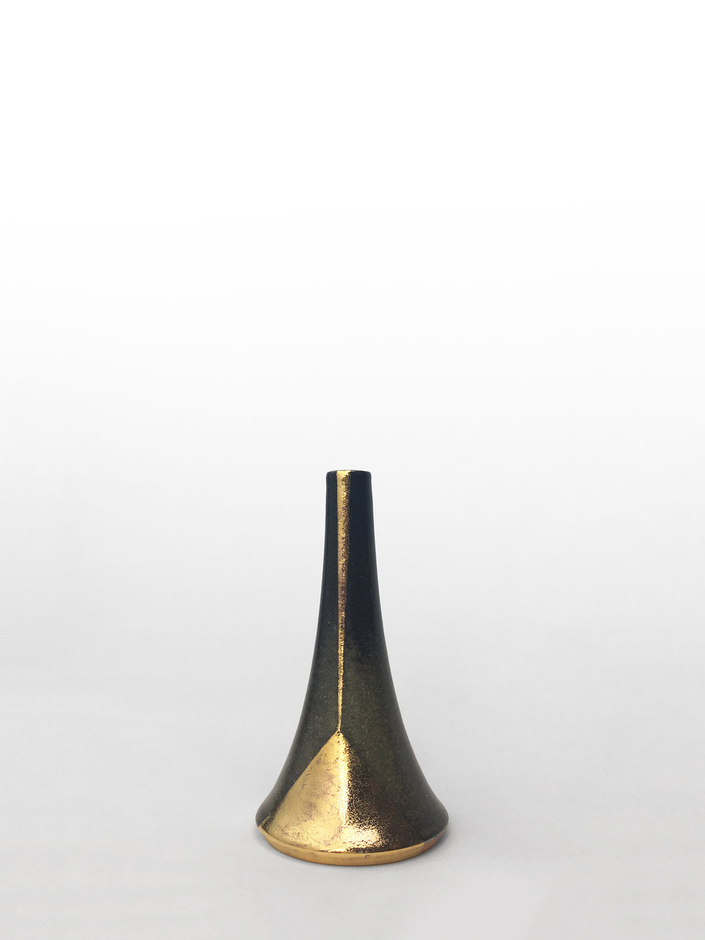 "Small volcano vase, hand-thrown porcelain with gray shino glaze and gold luster geometric design, 4 3/4"" x 2 1/2"", $150"