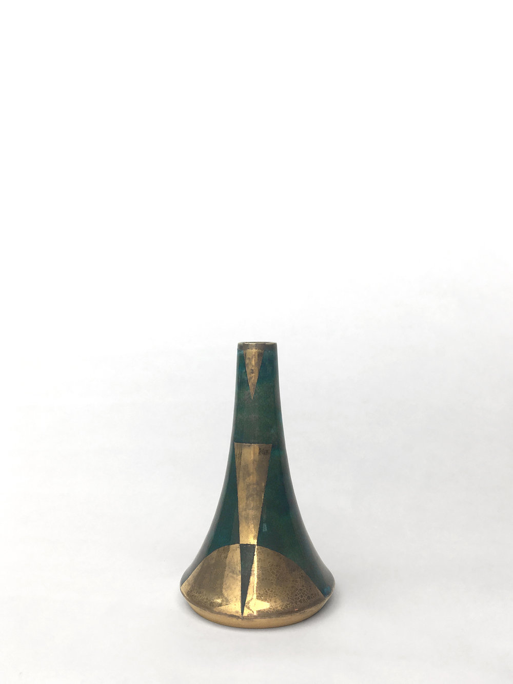 "Small volcano vase, hand-thrown porcelain with oribe glaze and gold luster geometric design, 4 1/2"" x 2 3/4"", $150"