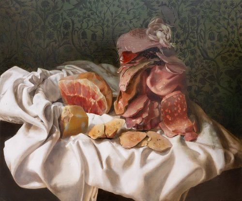 Nicole Duennebier,  Still Life with Meat Pile , acrylic on panel