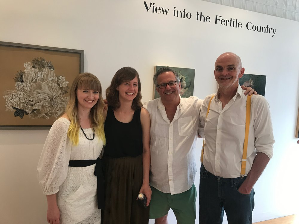 Left to right: Gallery Director Caitee Hoglund, Nicole Duennebier, and gallery owners Marc Gurton and Jim Kiely at the opening of  View into the Fertile Country