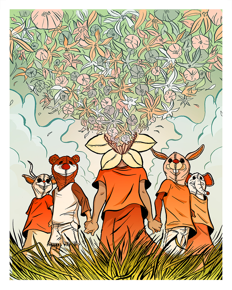 """Blossom , pen and ink with digital colorization on archival paper with remarque, 18"""" x 14"""" framed, $225"""