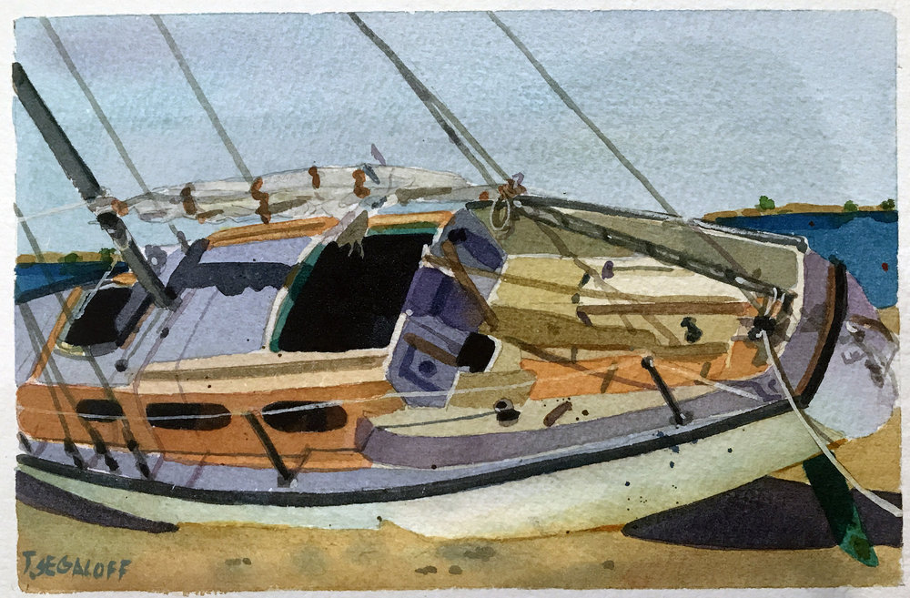 "Sailboat Aground, Provincetown,  watercolor on paper, 13 1/2"" x 15 1/2"", $600"