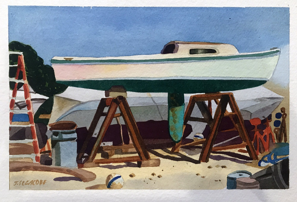"Sailboat without Mast, Wellfleet Boatyard,  watercolor on paper, 13 1/2"" x 15 1/2"", $600"