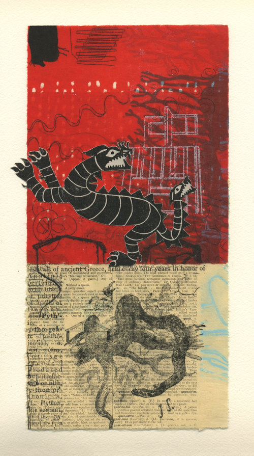 "Red Dragon,  monotype collage, chine-collé on paper, 18"" x 16"" framed, $625"