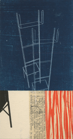 "Where is What #1 , monotype collage, chine-collé on paper, 16 3/4"" x 15"" framed, $625"