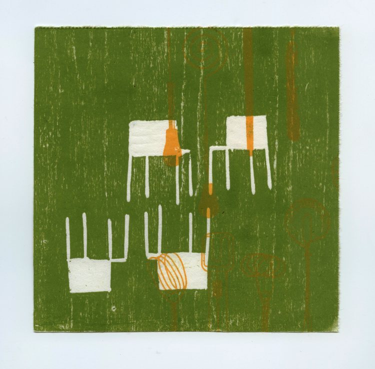 "Edges and Squares #14 , woodblock and paper lithography monoprint, 6"" x 6"", $225"