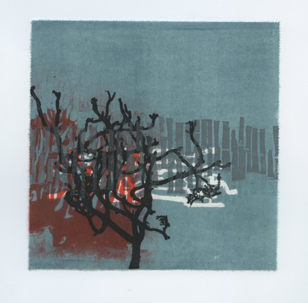 "Edges and Squares #9,  woodblock and paper lithography monoprint, 6"" x 6"", $225"