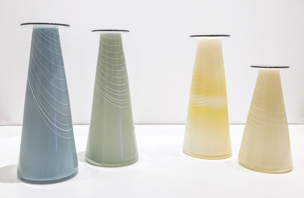 Hand blown glass vases, various sizes, $145 - $185
