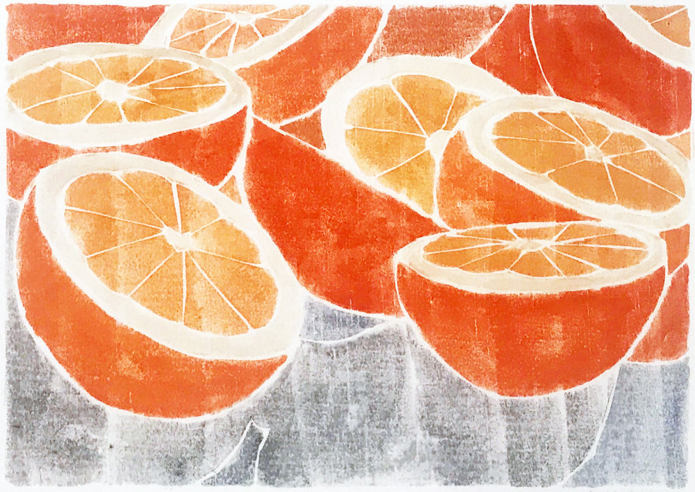 "Fresh Juice,  white line woodcut monoprint, 11¼"" x 13"" matted, $95"