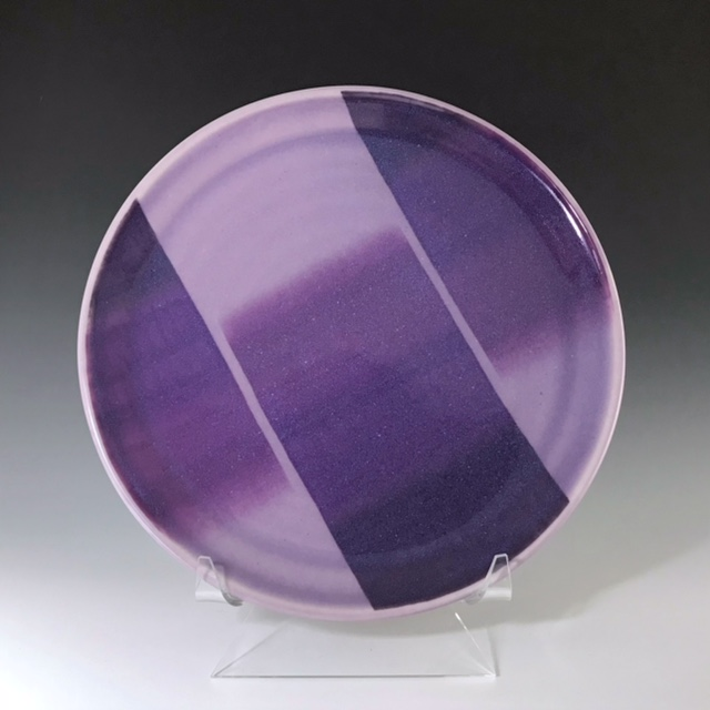 "Purple dinner plate, wheel-thrown porcelain with hand-painted ombre design, 1"" x 10 1/2"" x 10 1/2"", sold"