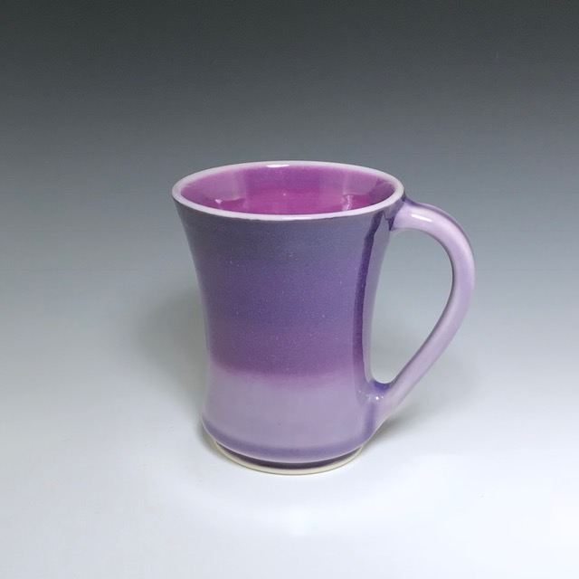 "Purple mug, wheel-thrown porcelain with hand-painted ombre design, 5"" x 4"" x 4"", sold"