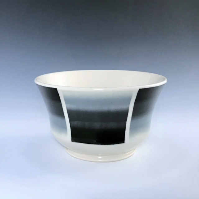 "Black, gray, and white soup/cereal bowl, wheel-thrown porcelain with hand-painted ombre design, 3 1/4"" x 5 3/4"" x 5 3/4"", $45"