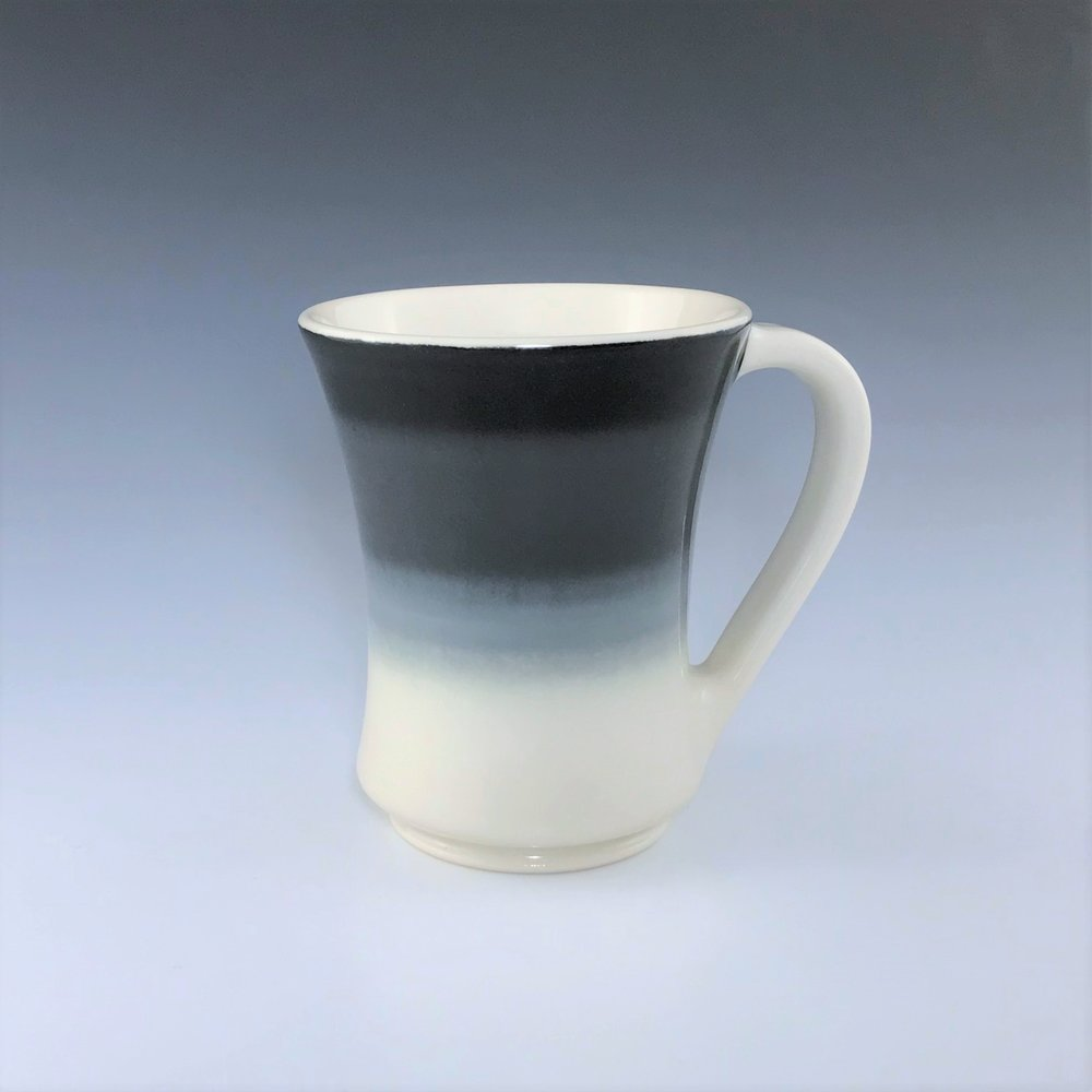 "Black, gray, and white mug, wheel-thrown porcelain with hand-painted ombre design, 4 3/4"" x 4"" x 4"", $42"