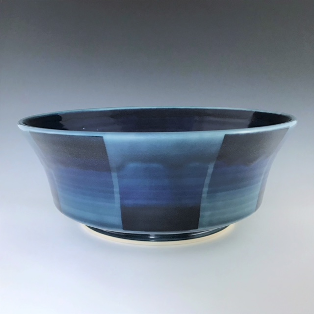 "Blue large serving bowl, wheel-thrown porcelain with hand-painted ombre design, 4 1/4"" x 10 3/4"" x 10 3/4"", $145"