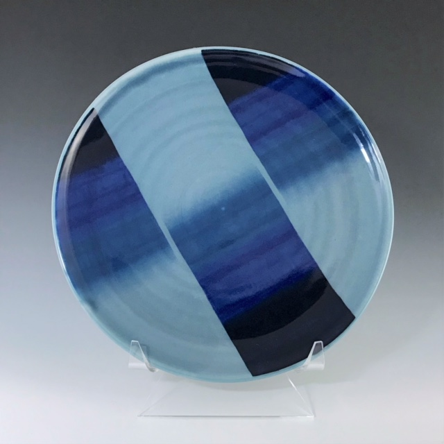 "Blue dinner plate, wheel-thrown porcelain with hand-painted ombre design, 1"" x 10 1/2"" x 10 1/2"", sold"