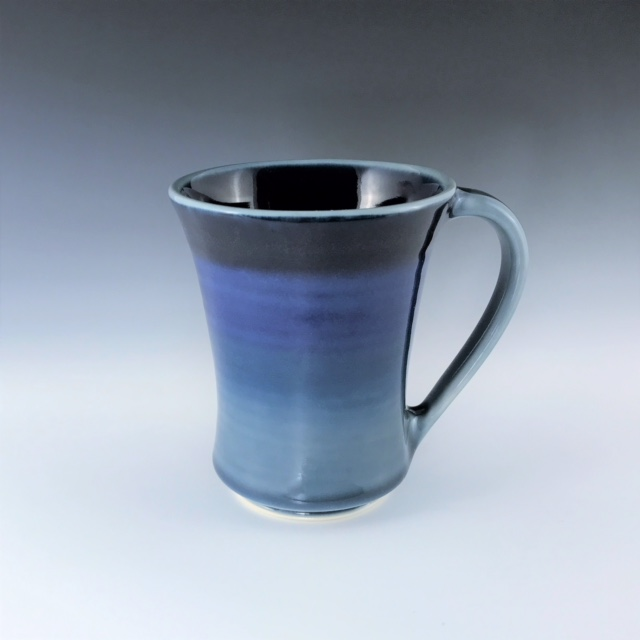 "Blue mug, wheel-thrown porcelain with hand-painted ombre design, 4 3/4"" x 4"" x 4"", $42"