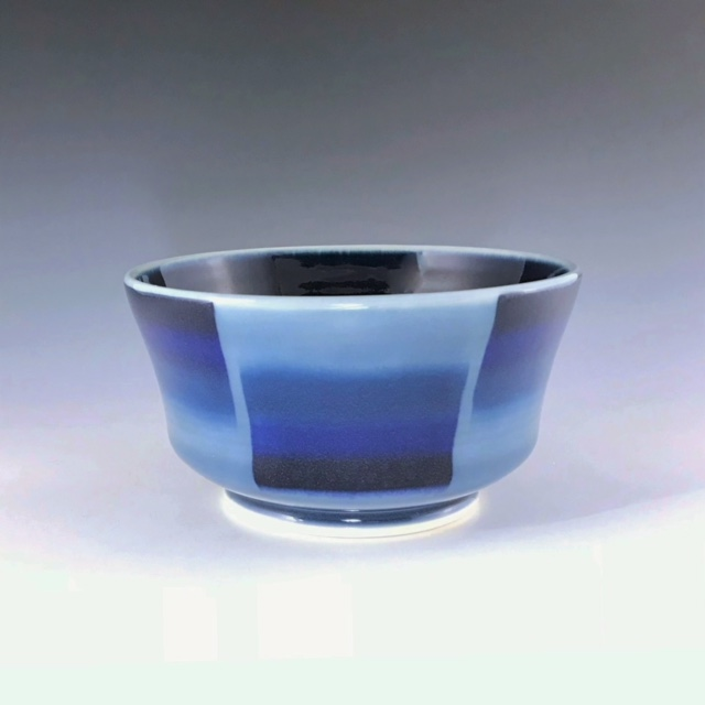 "Blue soup/cereal bowl, wheel-thrown porcelain with hand-painted ombre design, 3"" x 5 3/4"" x 5 3/4"", $45"