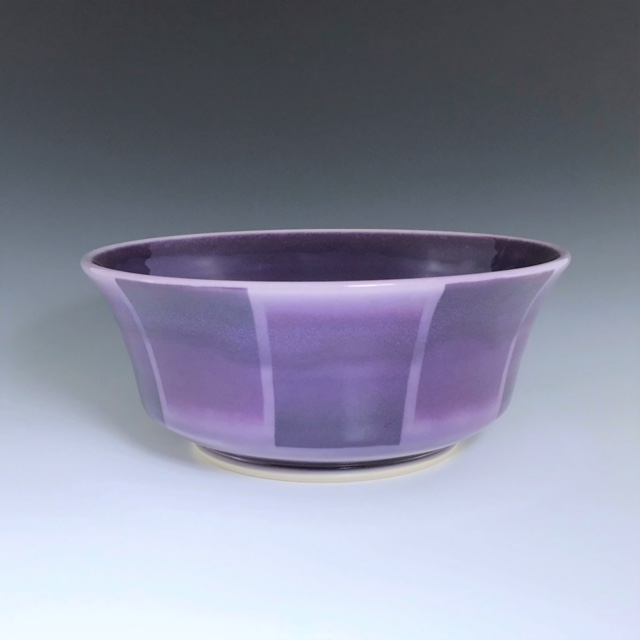 "Purple small serving bowl, wheel-thrown porcelain with hand-painted ombre design, 3 3/4"" x 9"" x 9"", $85"