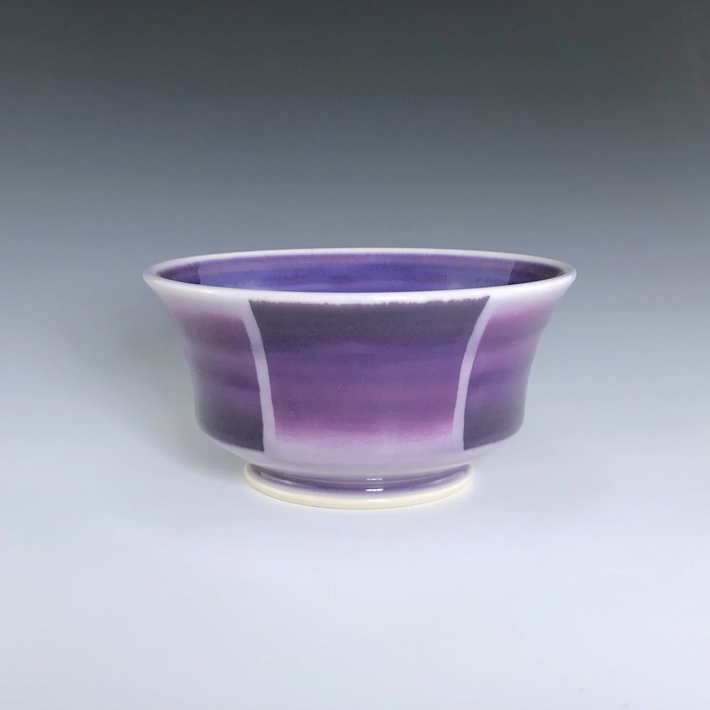 "Purple soup/cereal bowl, wheel-thrown porcelain with hand-painted ombre design, 3 1/4"" x 6"" x 6"", $45"