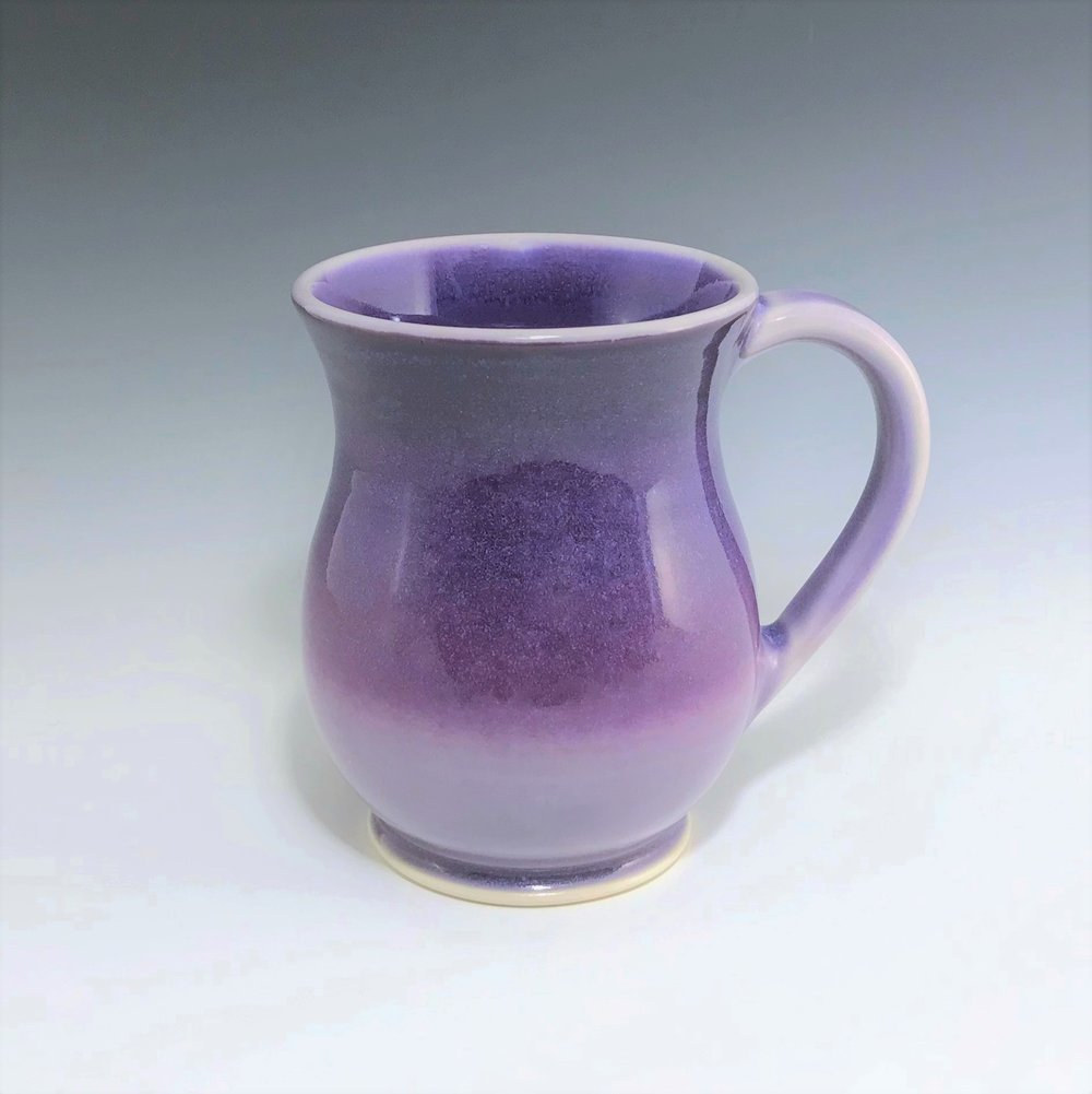 "Purple curvy mug, wheel-thrown porcelain with hand-painted ombre design, 4 3/4"""" x 3 1/2"" x 3 1/2"", $42"