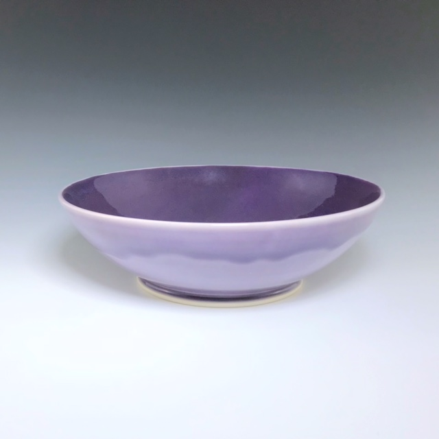"Purple pasta bowl, wheel-thrown porcelain, 2 3/4"" x 8 3/4"" x 8 3/4"", $60"