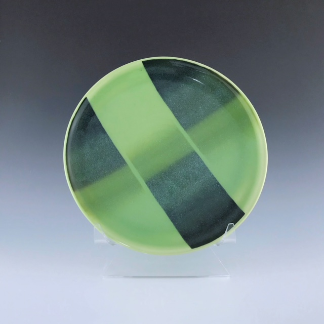"Green salad plate, wheel-thrown porcelain with hand-painted ombre design, 3/4"" x 8 1/2"" x 8 1/2"", $45"