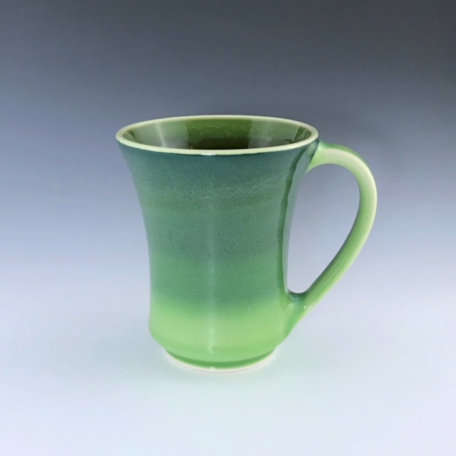 "Green mug, wheel-thrown porcelain with hand-painted ombre design, 5"" x 4"" x 4"", $42"