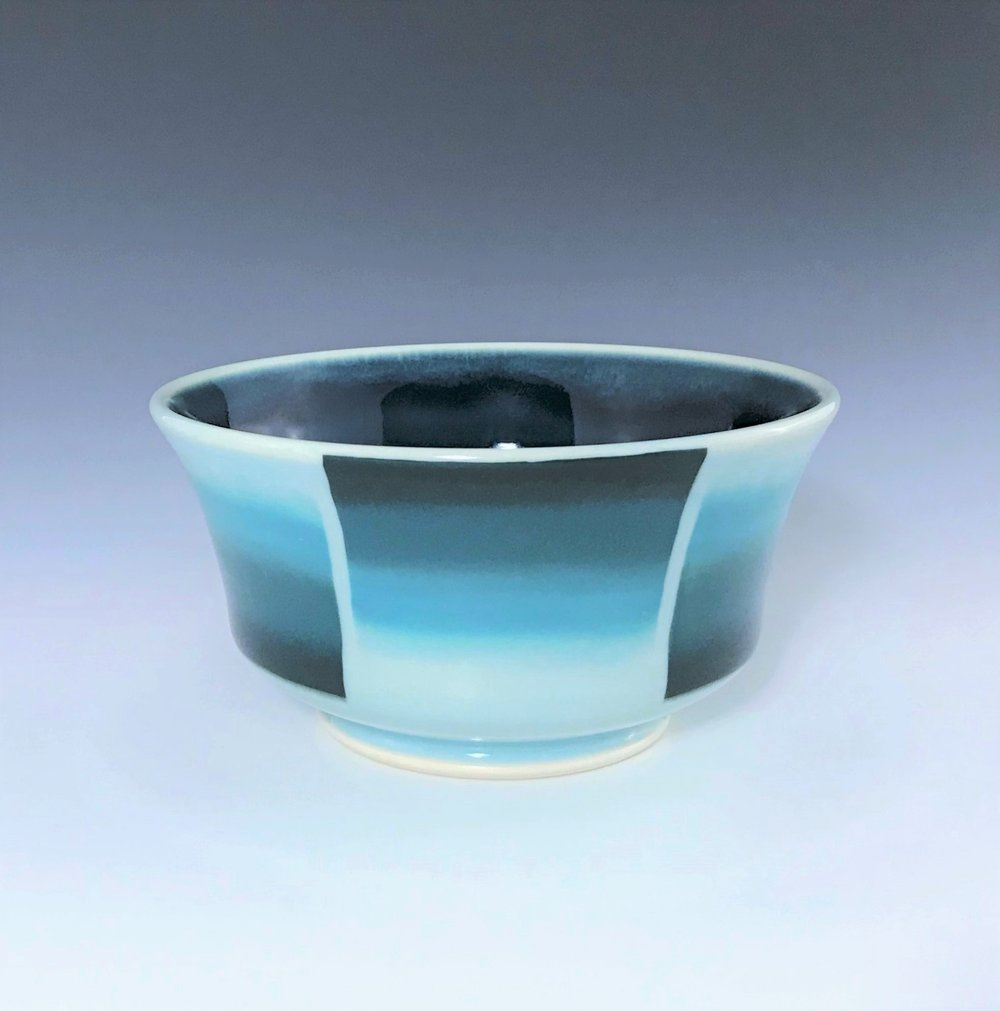 "Teal soup/cereal bowl, wheel-thrown porcelain with hand-painted ombre design, 3"" x 6"" x 6"", $45"