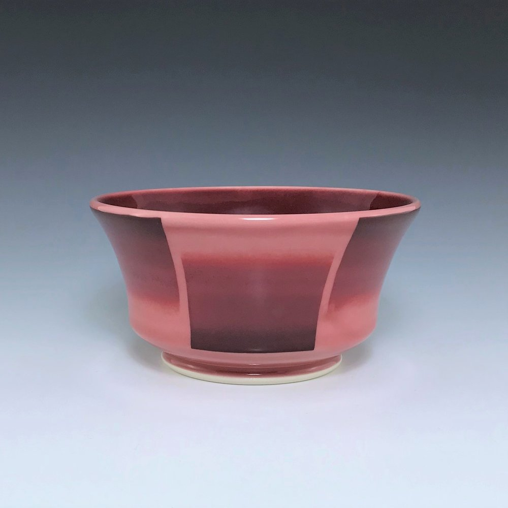 "Red soup/cereal bowl, wheel-thrown porcelain with hand-painted ombre design, 3"" x 5 3/4"" x 5 3/4"", $45"