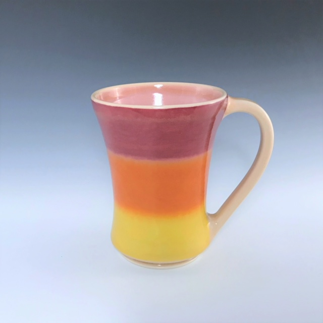 "Orange mug, wheel-thrown porcelain with hand-painted ombre design, 5"" x 3 3/4"" x 3 3/4"", $42"