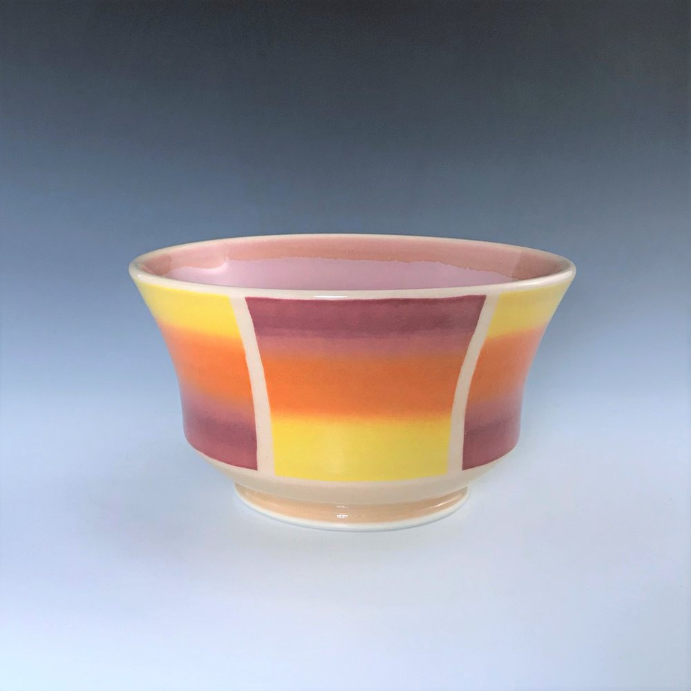 "Orange soup/cereal bowl, wheel-thrown porcelain with hand-painted ombre design, 3 1/4"" x 6"" x 6"", $45"