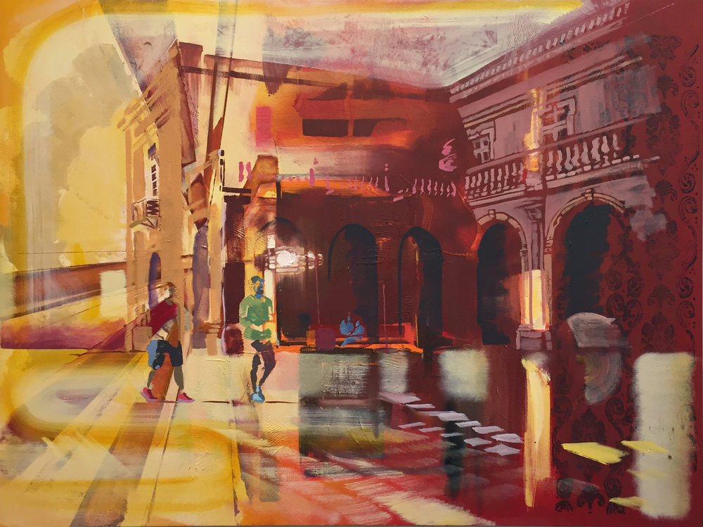 "Andrew Fish ,  Piazza,  oil on canvas, 36"" x 48"",  $4,000"
