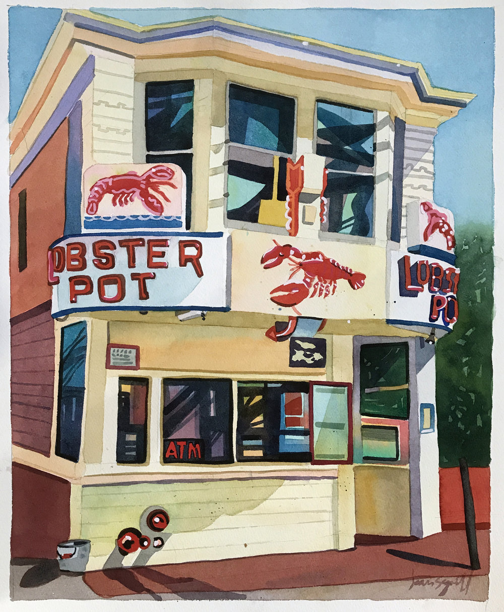 "Jean Segaloff ,  The Lobster Pot #3,  watercolor on paper, 24 3/4"" x 20 3/4"" framed, $1,800"