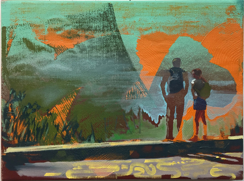 """Day Hike,  oil on linen, 9"""" x 12"""", $800"""