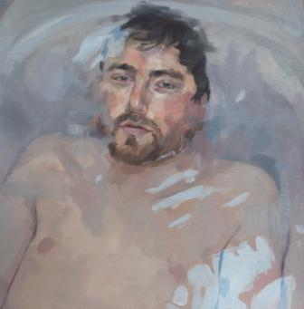 "Michael , oil on panel, 14"" x 14"", sold"