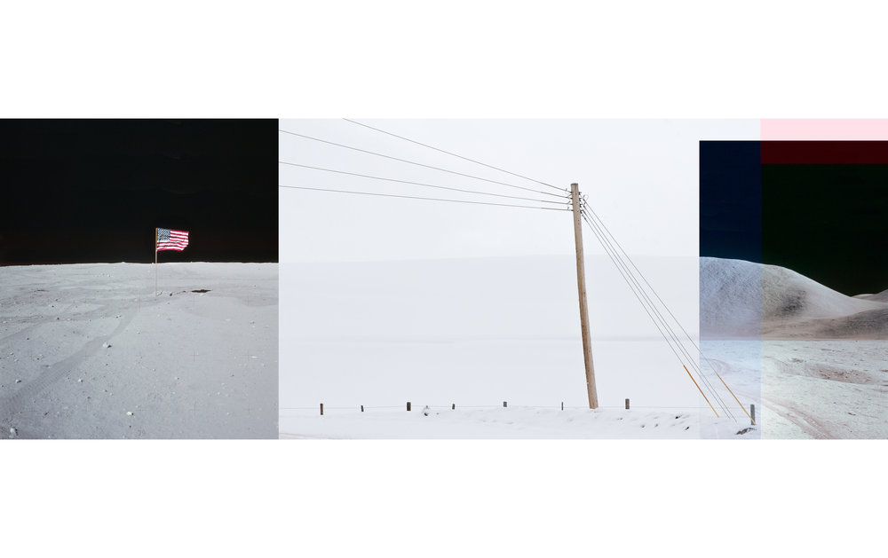 "To Hunt a Moon: Flag with Power Pole and Mount Hadley ,   digital photograph on plexiglass, 14"" x 39"", sold"