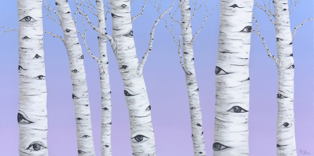 "Birch Spies , oil on linen, 15"" x 30"", $3,200"